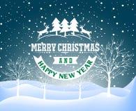 De achtergrond van het Kerstmislandschap van de vakantiewinter met boom Stock Fotografie