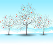 De achtergrond van het Kerstmislandschap van de vakantiewinter met boom Royalty-vrije Stock Fotografie