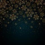 De achtergrond van het Kerstmisnieuwjaar met gouden sneeuwvlokken en schittert Blauw feestelijk de winterkerstmis als achtergrond vector illustratie