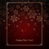 De achtergrond van het Kerstmisnieuwjaar met gouden sneeuwvlokkenteksten van Gelukkig van de Nieuwjaar Rood feestelijk winter Ker royalty-vrije illustratie