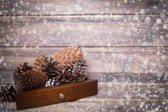 De achtergrond van het Kerstmisstilleven met kegels De ruimte van het exemplaar Stock Fotografie