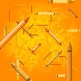 De achtergrond van het kleurpotlood - jus d'orange Stock Foto's