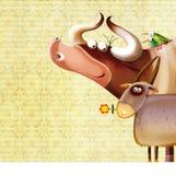 De achtergrond van het landbouwbedrijf met dieren Stock Afbeelding