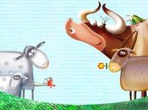 De achtergrond van het landbouwbedrijf met dieren Royalty-vrije Stock Afbeeldingen