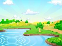 De achtergrond van het landschap met meer Stock Foto's