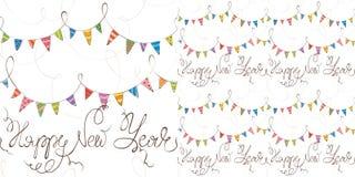 De achtergrond van het nieuwe jaar met vlaggen Stock Foto