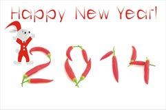 De achtergrond van het nieuwjaar met Spaanse pepersaantal royalty-vrije stock foto