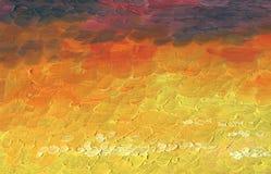 De achtergrond van het olieverfschilderij Kleurrijke zonsondergangwolken royalty-vrije illustratie