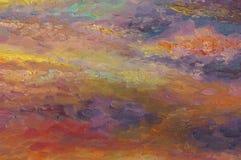 De achtergrond van het olieverfschilderij Kleurrijke zonsondergangwolken stock illustratie