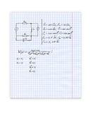 De achtergrond van het onderwijs met hand geschreven formules over blocnotepagina Royalty-vrije Stock Fotografie