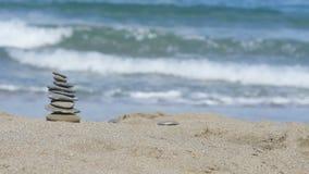 De achtergrond van het overzees en het strand stock footage