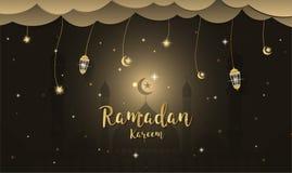 De achtergrond van het Ramadan kareem Beeldverhaal Het concept van het festivalontwerp royalty-vrije stock afbeelding