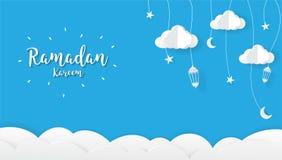 De achtergrond van het Ramadan kareem Beeldverhaal Het concept van het festivalontwerp royalty-vrije stock foto