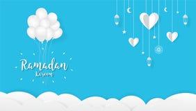De achtergrond van het Ramadan kareem Beeldverhaal, het concept van het Festivalontwerp stock afbeelding