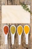 De achtergrond van het receptenkruid Diverse kruidige mengeling met oud document blad met thyme Royalty-vrije Stock Afbeelding