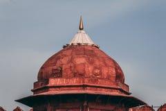 De achtergrond van het de reistoerisme van India - overkoepel, Rood Fort Lal Qila Delhi - de Plaats van de Werelderfenis Delhi, I stock foto