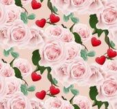 De achtergrond van het rozenpatroon Romantische de kaart Vectorillustratie van de valentijnskaartendag Royalty-vrije Stock Foto's
