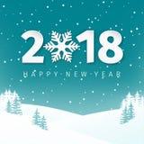 De achtergrond van het de scènelandschap van de nachtwinter met sneeuwgebied en sparren Gelukkig Nieuwjaar 2018 aantallen met sne Stock Fotografie