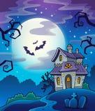 De achtergrond van het spookhuisthema royalty-vrije illustratie
