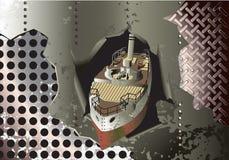 De achtergrond van het staal met oude cannonboat stock illustratie