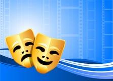 De achtergrond van het theatermaskers van de komedie en van de tragedie Stock Foto