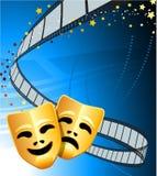 De achtergrond van het theatermaskers van de komedie en van de tragedie Royalty-vrije Stock Afbeeldingen