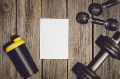 De achtergrond van het trainingplan Domoren op houten gymnastiekvloer of lijst Royalty-vrije Stock Afbeelding