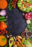 De achtergrond van het veganistdiner Stock Fotografie