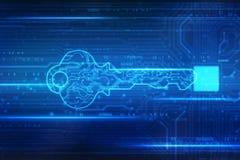 De achtergrond van het veiligheidsconcept, het Concept cyberveiligheid of de persoonlijke sleutel, vatten digitale sleutel op tec royalty-vrije illustratie