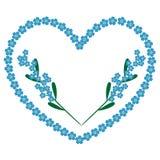 De achtergrond van het vergeet-mij-nietjeshart met takken van bloemen vector illustratie