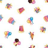 De achtergrond van het verjaardagspatroon Zoete cake met kaarsen voor vieringspartij, kleurrijke cake, banketbakkerij cupcakes, royalty-vrije illustratie
