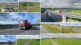 De achtergrond van het vervoer Grote leveringsvrachtwagens die zich op een weg bewegen Multiscreenmontering stock footage