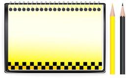 De achtergrond van het vervoer met blocnote en taxiteken Royalty-vrije Stock Afbeeldingen