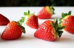 De achtergrond van het voedsel Close-up op vers organische rode rijpe aardbeien die op een witte achtergrond liggen De zomer rijp Royalty-vrije Stock Fotografie