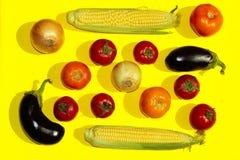 De achtergrond van het voedsel Groentenassortimenten Stock Afbeelding
