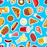 De achtergrond van het voedsel Voerpatroon vleesornament Pizza en taco Fr Royalty-vrije Stock Afbeelding