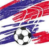 De achtergrond van het voetbalkampioenschap in blauwe en rode kleuren royalty-vrije illustratie