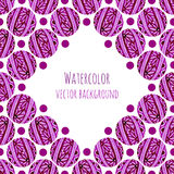De achtergrond van het waterverfkader met roze bloemencirkels die textuur breien Hand getrokken vectorillustratie Stock Afbeeldingen
