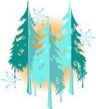 De achtergrond van het de winterlandschap met aardig sneeuwvlokken en bomensilhouet royalty-vrije illustratie