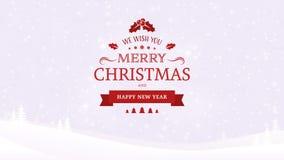 De achtergrond van het de winterlandschap met bomen Kerstmis en Nieuwjaar Typografisch uitstekend kenteken op de zachte lichte ac Royalty-vrije Stock Afbeelding