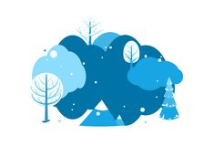 De achtergrond van het de winterlandschap met exemplaarruimte De horizontale scène van het beeldverhaal vlakke land met bomen, da royalty-vrije illustratie