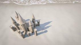 De achtergrond van het zandkasteelstrand het 3d teruggeven Royalty-vrije Stock Afbeeldingen