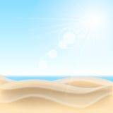 De achtergrond van het zandstrand. Stock Afbeelding