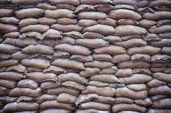 De achtergrond van het zandzakkenvestingwerk Stock Afbeelding