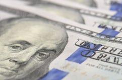 De achtergrond van honderd dollarsbankbiljetten Royalty-vrije Stock Foto's