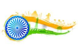 De achtergrond van India met monument stock illustratie