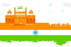 De achtergrond van India met Rood Fort Royalty-vrije Stock Afbeeldingen