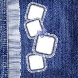 De achtergrond van jeans met frames en blauwe batterfly Royalty-vrije Stock Foto's