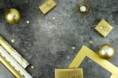 De achtergrond van Kerstmis creatieve abstracte samenstelling van Kerstmisdecoratie Royalty-vrije Stock Fotografie