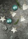 De achtergrond van Kerstmis creatieve abstracte samenstelling van Kerstmisdecoratie Royalty-vrije Stock Foto